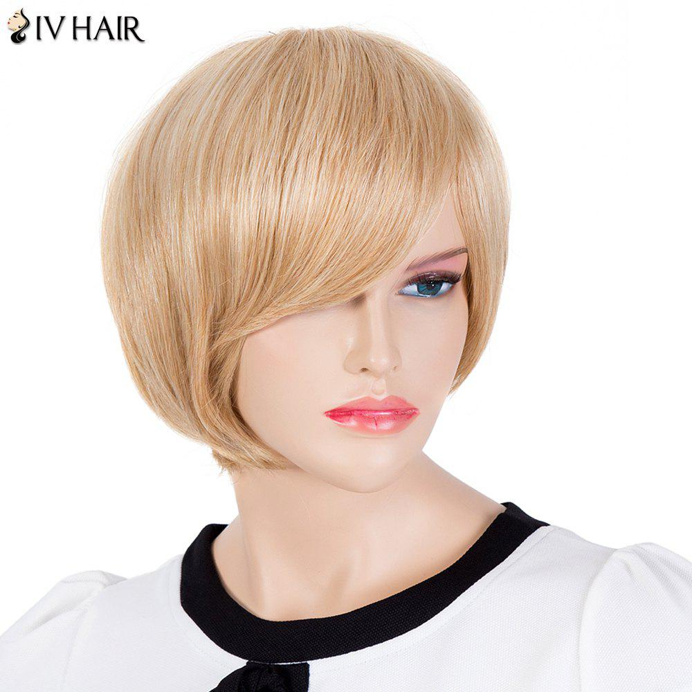 Stylish Straight Women's Inclined Bang Siv Hair Human Hair Wig - GOLDEN BROWN/BLONDE