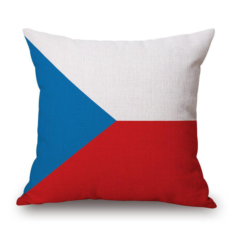 2016 Stylish European Cup Czech Flag Pattern Square Shape Flax Cushion Cover - RED/WHITE/BLUE