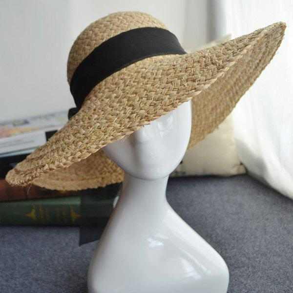 Chic Black Bowknot Lace-Up Holiday Travelling Elegant Lady Style Straw Hat