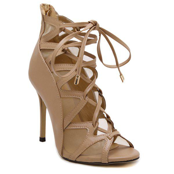 Trendy Peep Toe and Mesh Design Women's Sandals - DARK APRICOT 38