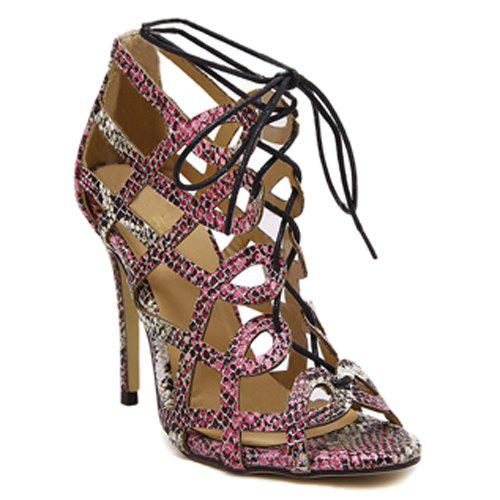 Stylish Lace-Up and Snake Print Design Women's Sandals - COLORMIX 38
