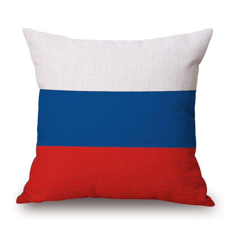 2016 Stylish European Cup Russian Flag Pattern Square Shape Flax Cushion Cover - RED/WHITE/BLUE