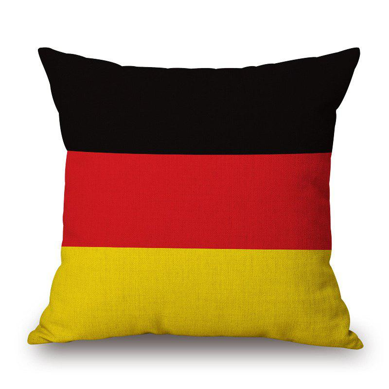 Stylish German Flag Pattern Square Shape Flax Cushion Cover - COLORMIX