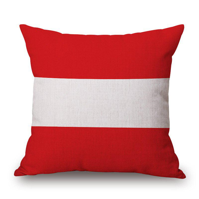 2016 Stylish European Cup Austrian Flag Pattern Square Shape Flax Cushion Cover - RED/WHITE
