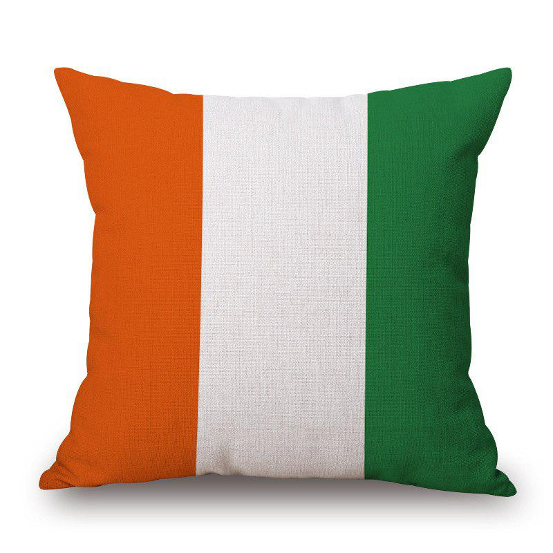 2016 Stylish European Cup Irish Flag Pattern Square Shape Flax Cushion Cover - COLORMIX