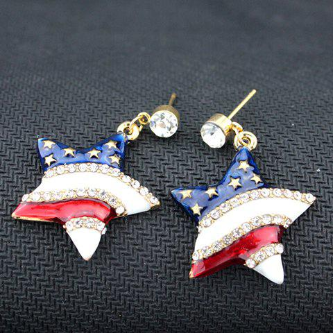 Pair of Rhinestone American Flag Design Star Pendant Earrings - BLUE