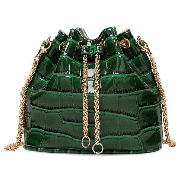 Stylish Stone Pattern and Patent Leather Design Women's Crossbody Bag - GREEN