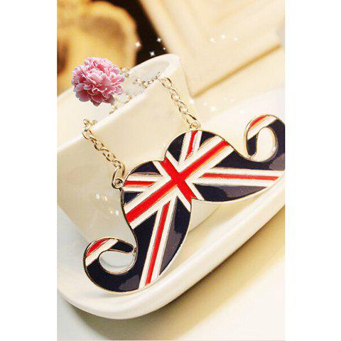 Hot Sale Union Flag Mustache Shape Pendant Britain Style Necklace