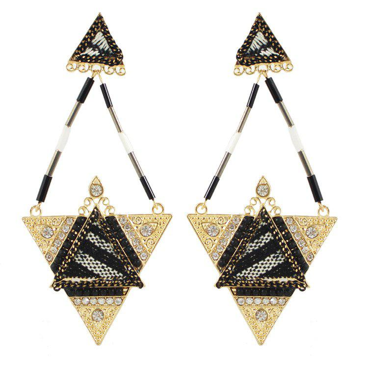 Pair of Gorgeous Rhinestone Bead Triangle Earrings For Women