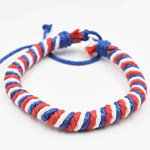 Hot Sale Weaving Red White and Blue PU Bracelet - RED
