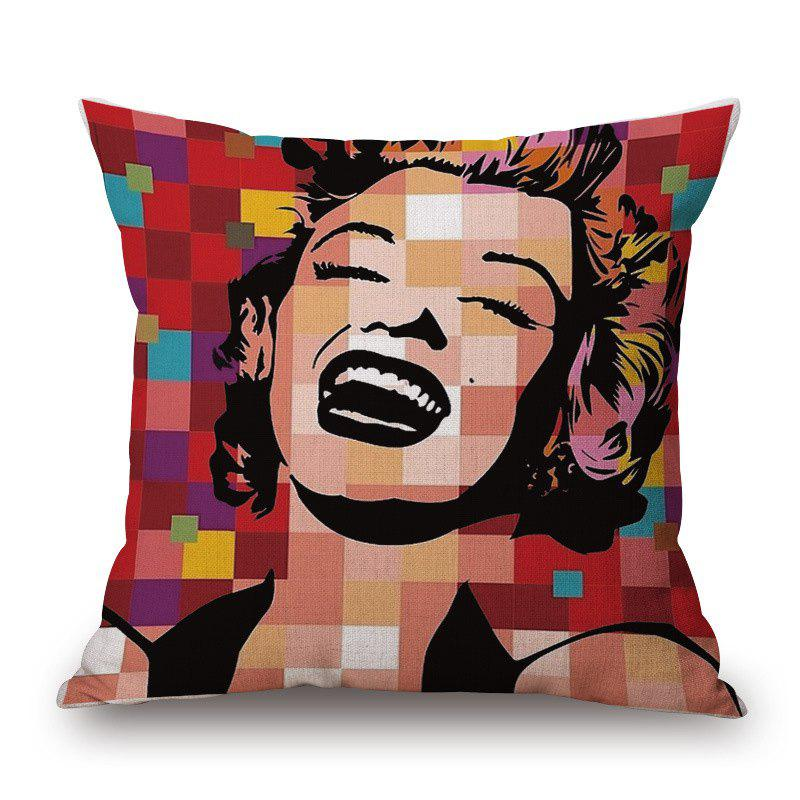 Retro Style Marilyn Monroe Pattern Square Shape Cushion Cover - COLORFUL