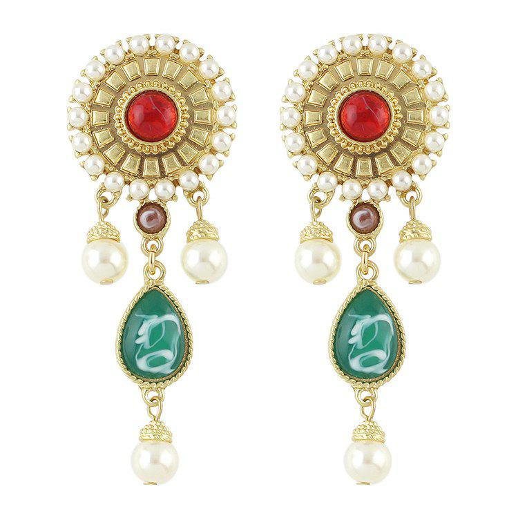Pair of Gorgeous Faux Pearl Gem Water Drop Earrings For Women