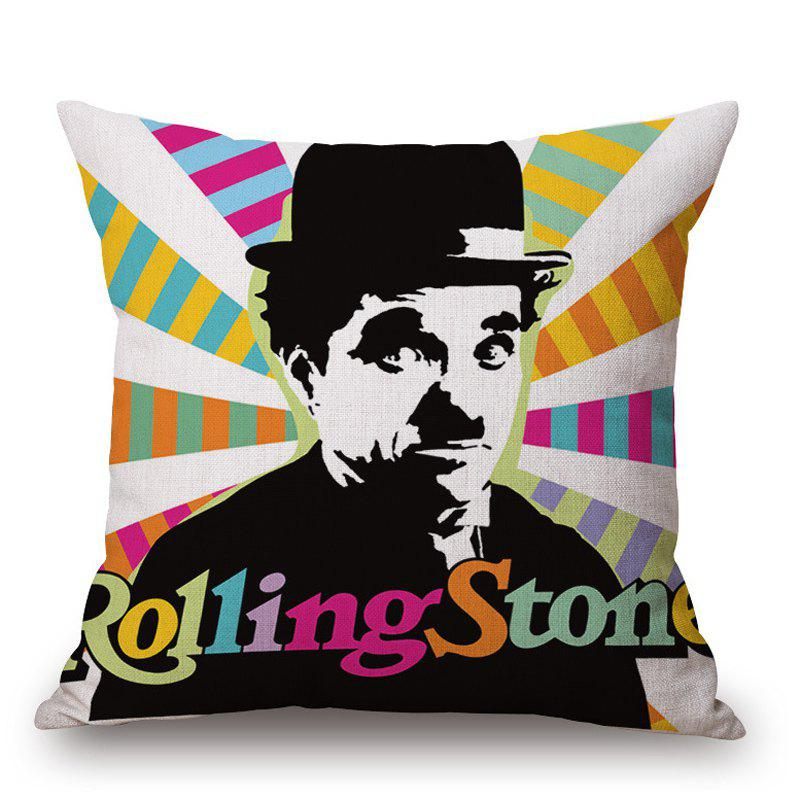 Retro Style Charles Chaplin Pattern Square Shape Cushion Cover - COLORFUL