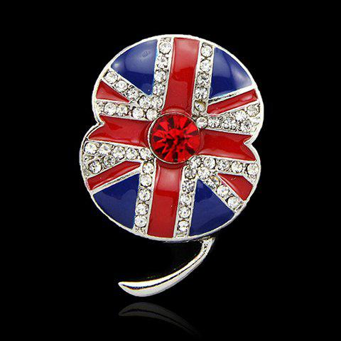 Union Flag Rhinestoned Flower Brooch - BLUE