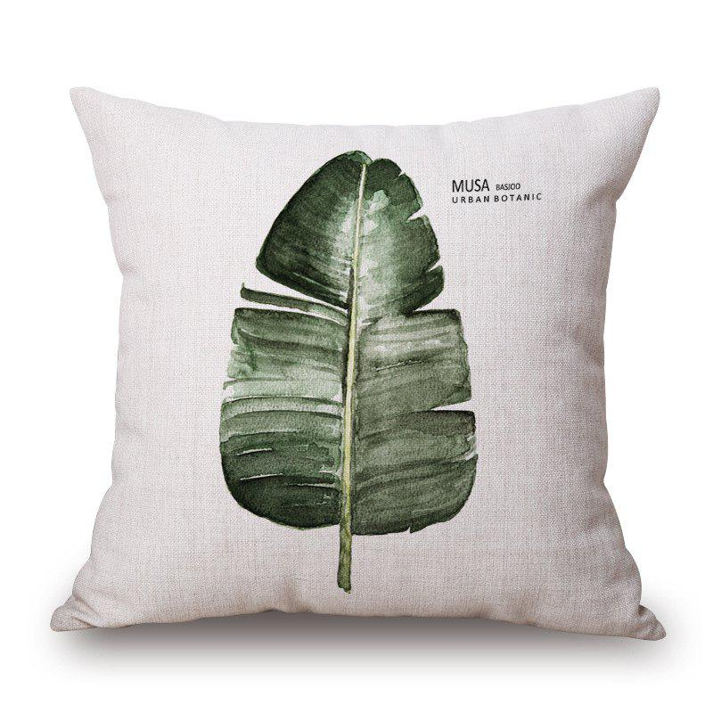 New Style Banana Leaf Pattern Square Shape Cushion Cover - GREEN