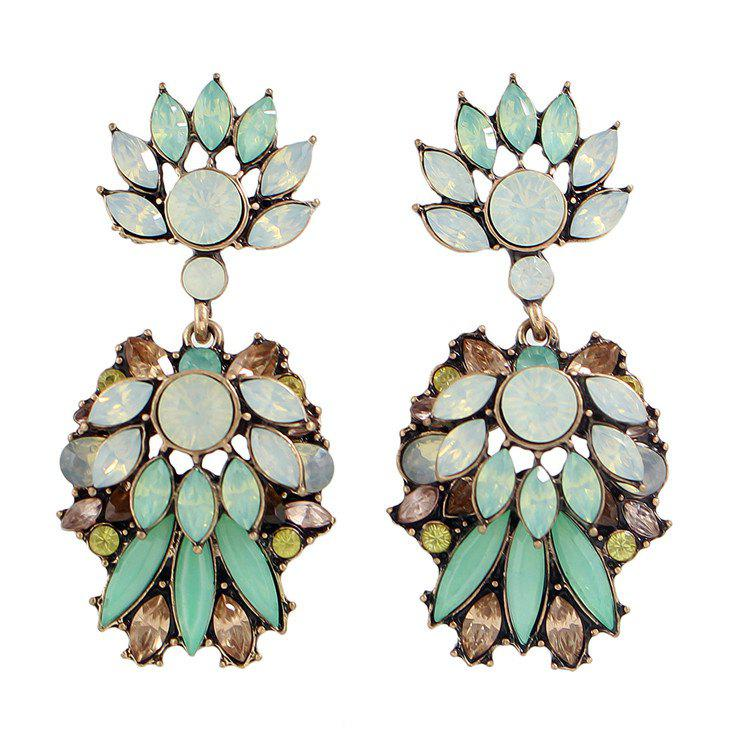 Pair of Ethnic Faux Crystal Rhinestone Leaf Earrings For Women