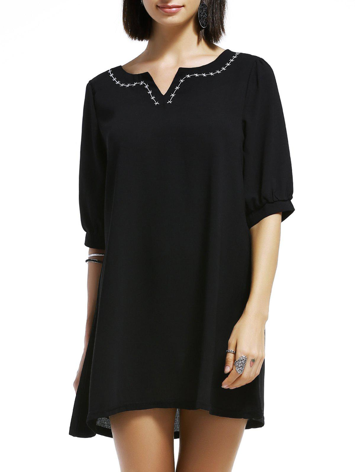 Simple Half Sleeve Embroided Loose Women's T Shirt Dress