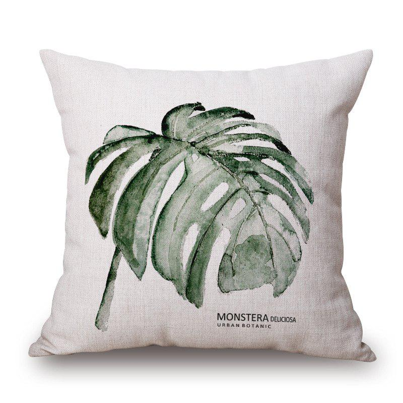 New Style Tropical leaf Pattern Square Shape Cushion Cover -  GREEN