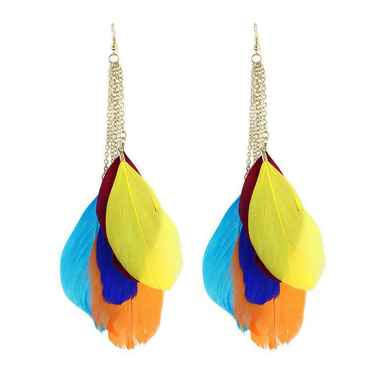 Pair of Feather Tassel Drop Earrings - COLORMIX