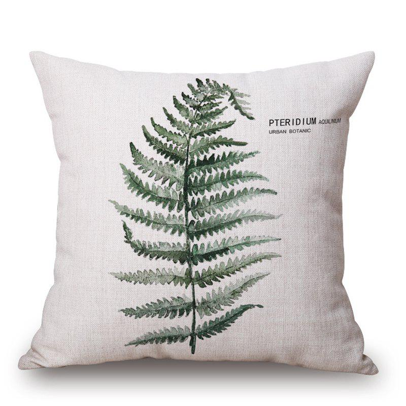 New Style Green Leaves Pattern Square Shape Cushion Cover - GREEN