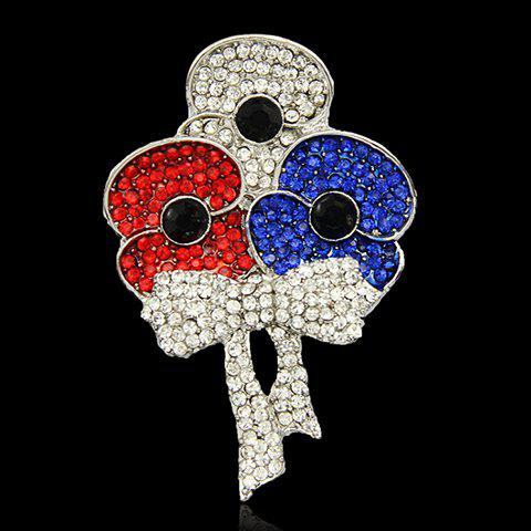 Alloy Rhinestoned Flower Brooch -  WHITE