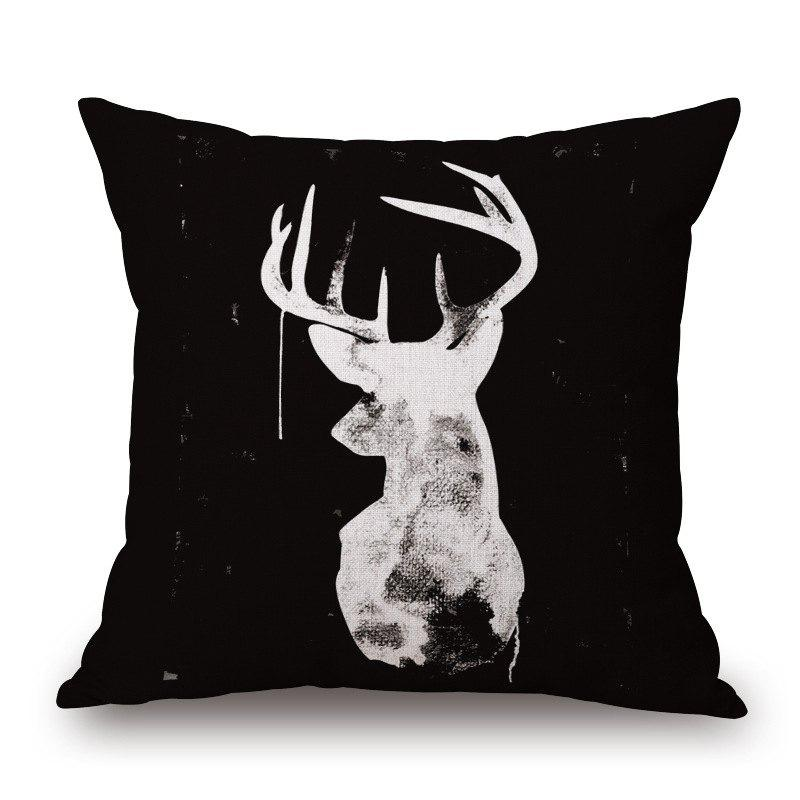 Simple 5 Colors Elk Pattern Square Shape Cushion Cover - WHITE
