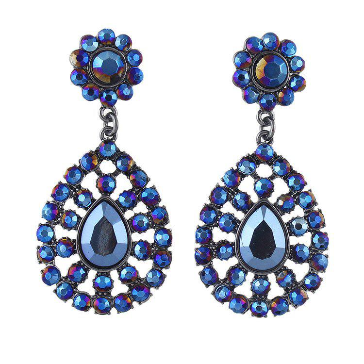 Pair of Hollow Out Rhinestone Water Drop Earrings - BLUE