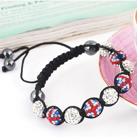 Hot Sale Union Flag Red White and Blue Ball Weaving Bracelet