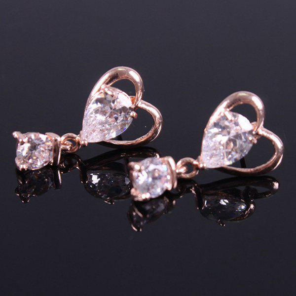 Pair of Heart Shaped Zircon Drop Earrings - ROSE GOLD