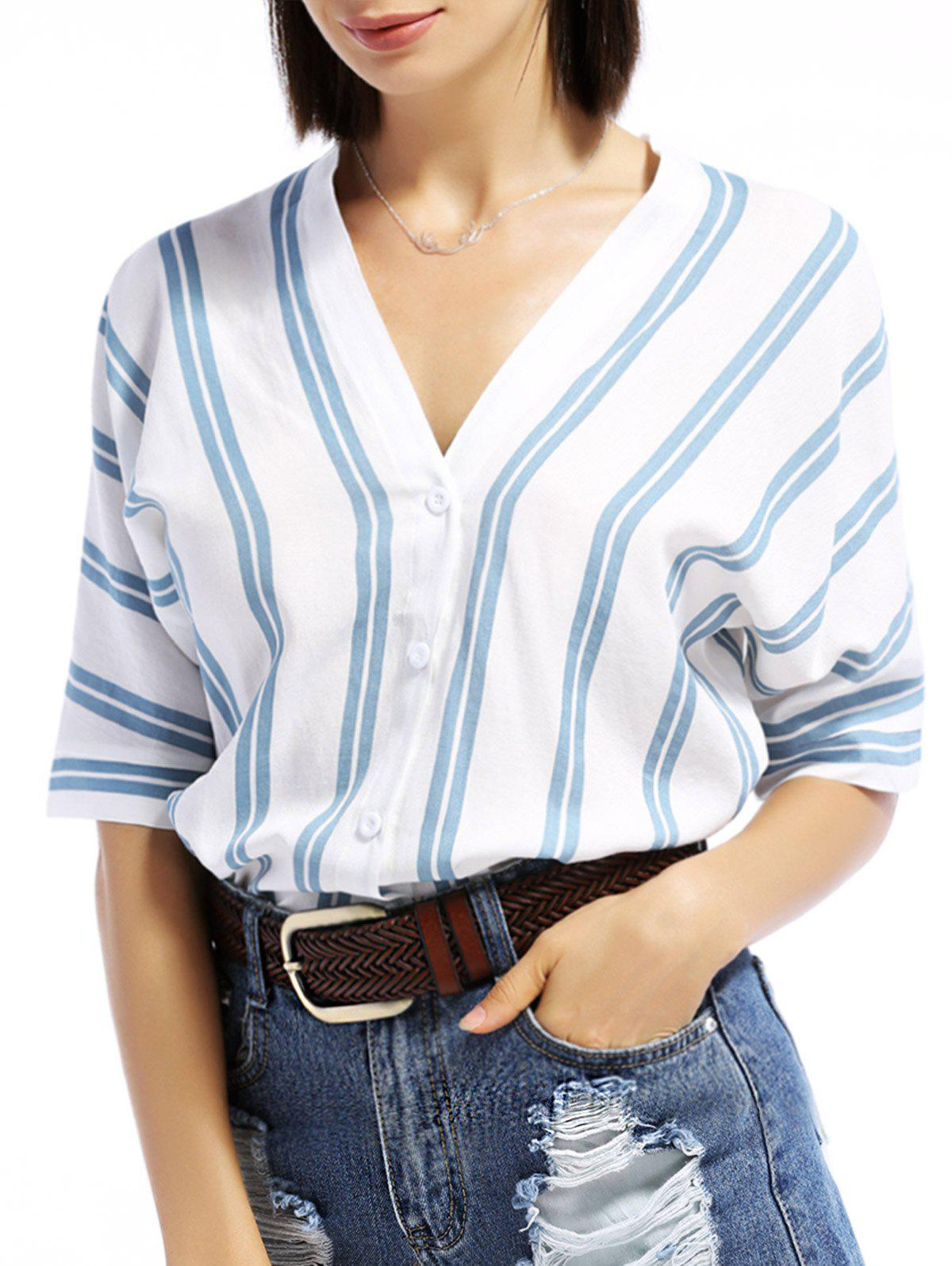 V-Neck Dolman Sleeve Striped Shirt - BLUE S