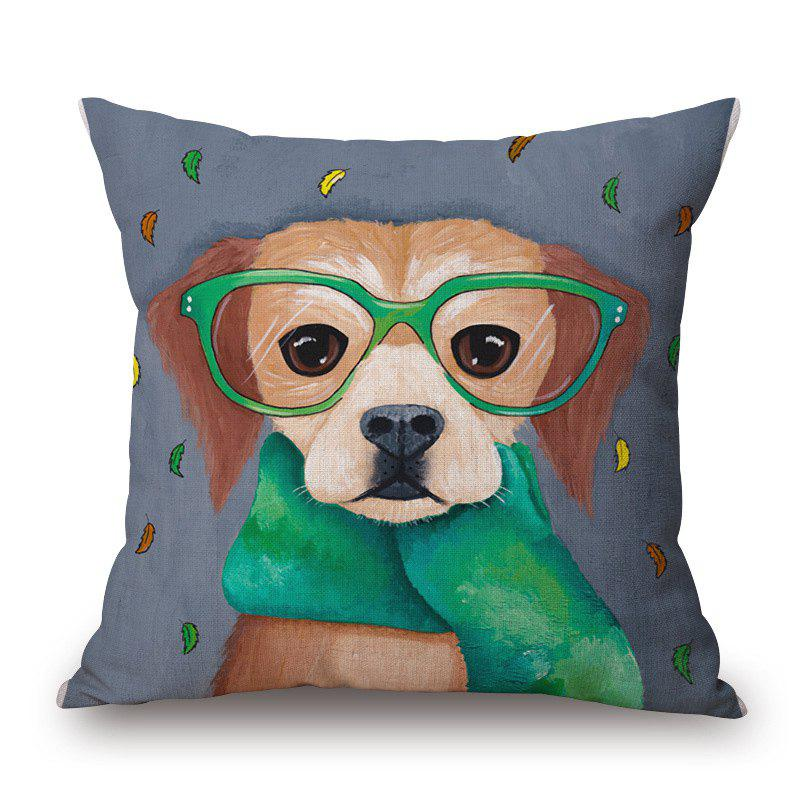 Retro Scarf Puppy Pattern Square Shape Cushion Cover - DEEP GRAY