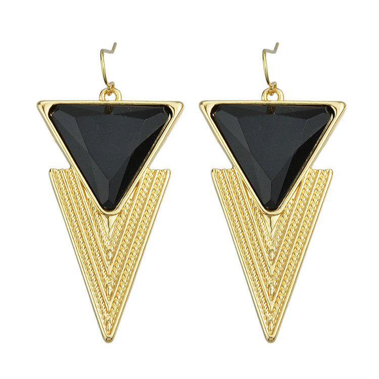Pair of Triangle Faux Gem Drop Earrings - BLACK