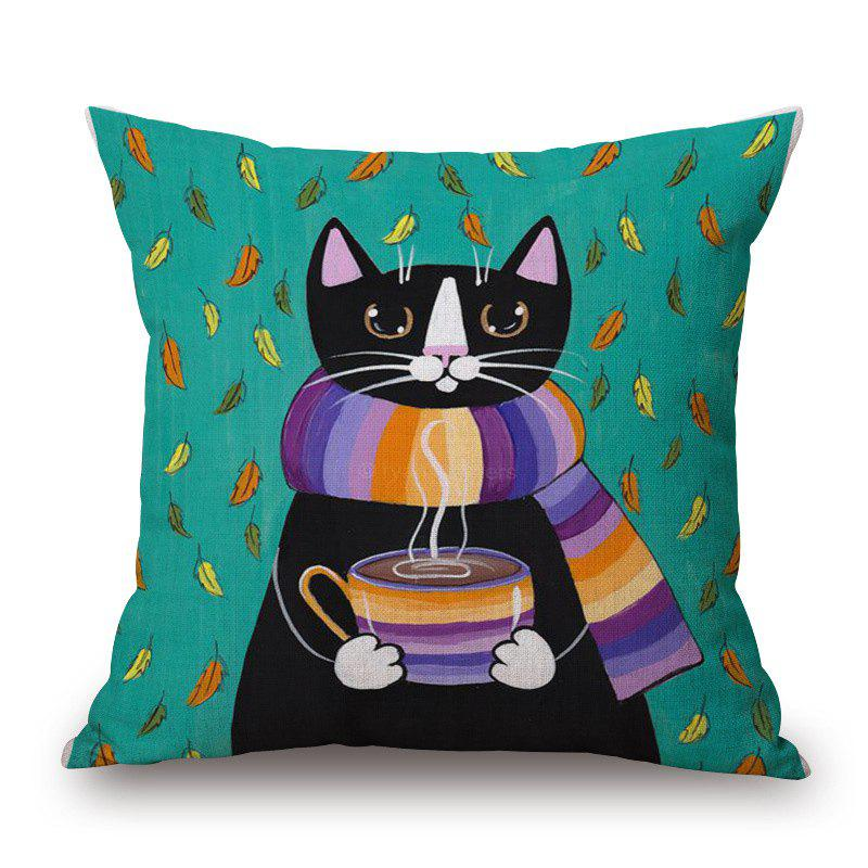 Retro Coffee Kitten Pattern Square Shape Cushion Cover - COLORMIX