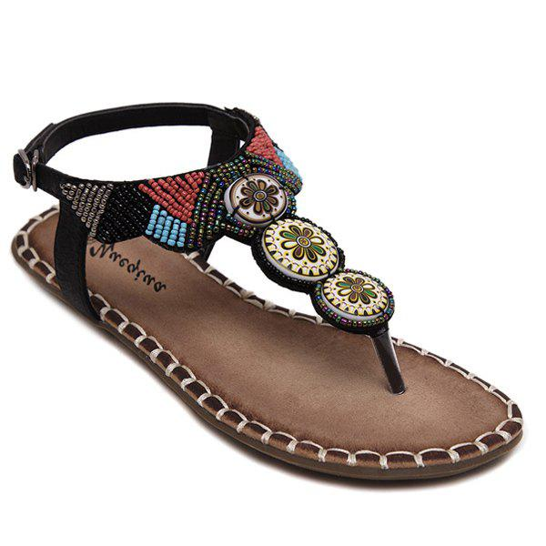 Leisure Beading and Stitching Design Women's Sandals - BLACK 40