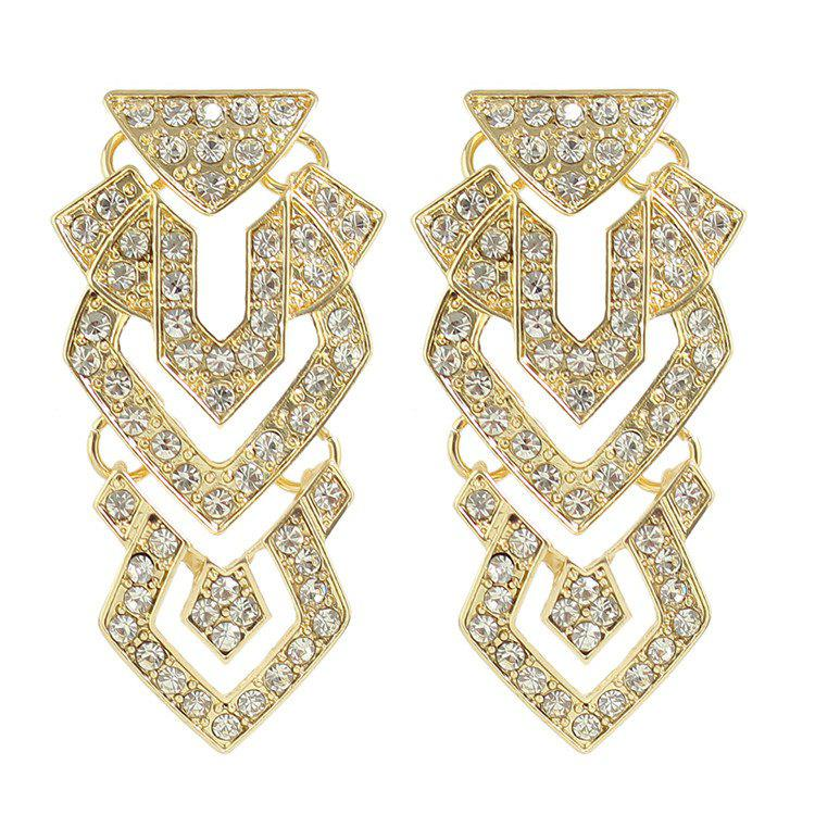 Pair of Gorgeous Rhinestone Hollowed Geometric Earrings For Women