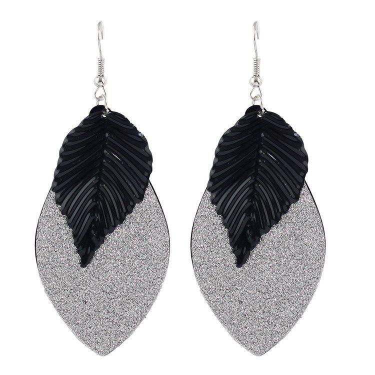 Pair of Gorgeous Engraving Leaf Drop Earrings For Women