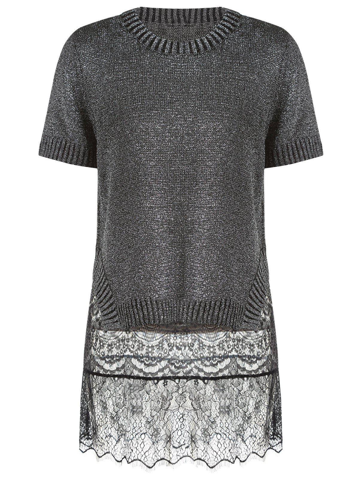 Trendy Women's Short Sleeve Furcal Sweater + Mini Lace Sundress Twinset - BLACK ONE SIZE(FIT SIZE XS TO M)