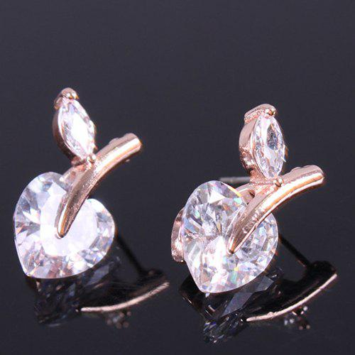 Pair of Noble Faux Crystal Heart Stud Earrings For Women - GOLDEN