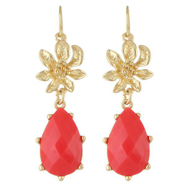 Pair of Faux Gem Flower Drop Earrings - RED