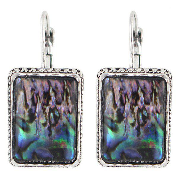 Pair of Vintage Faux Gem Rectangle Earrings For Women