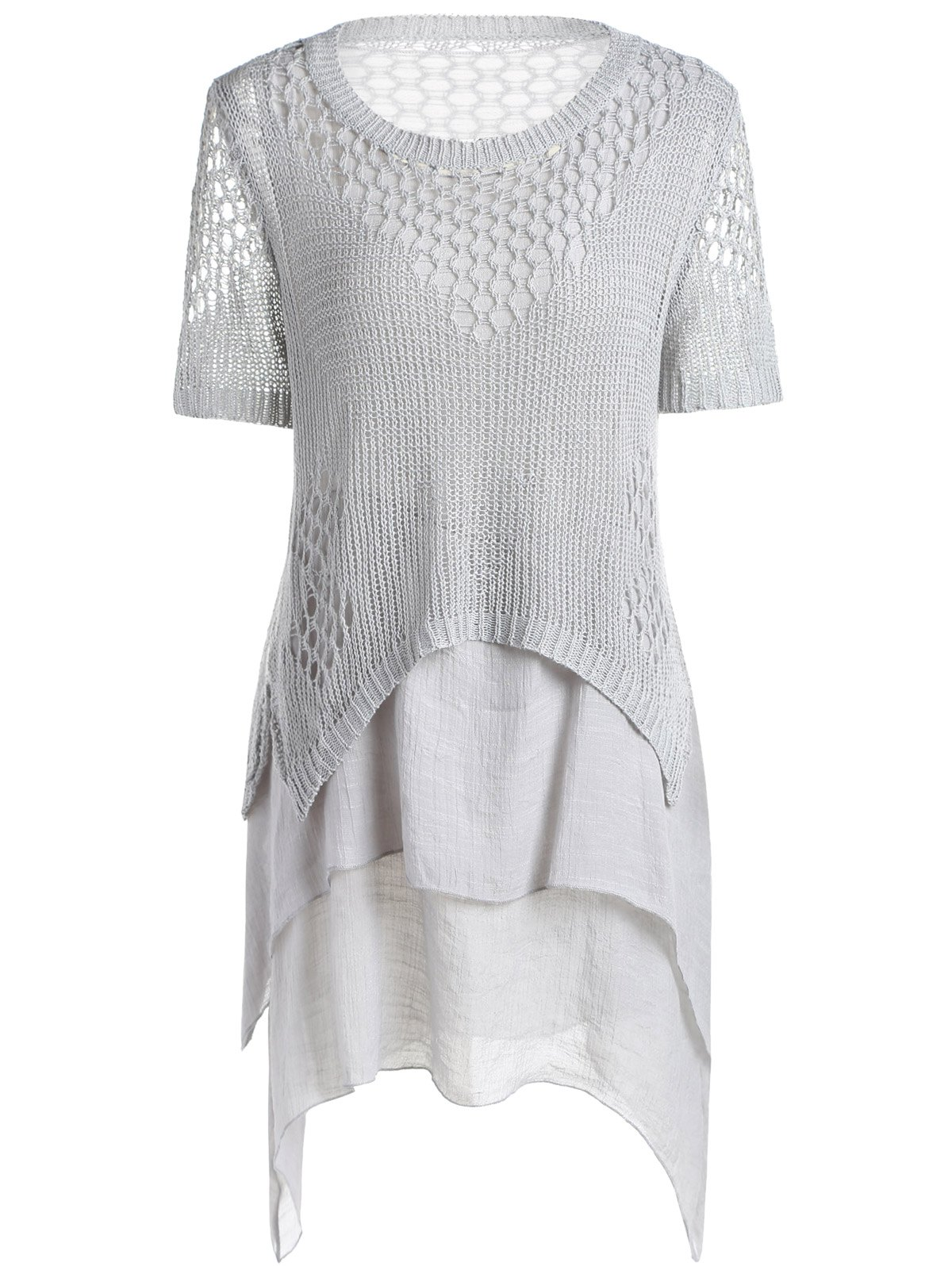 Trendy Women's Crochting Hollow Out Sweater + High Low Summer Dress Twinset - GRAY ONE SIZE(FIT SIZE XS TO M)