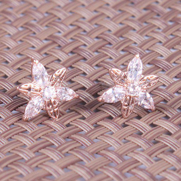 Pair of Graceful Cut Out Rhinestone Embellished Floral Earrings For Women - ROSE GOLD