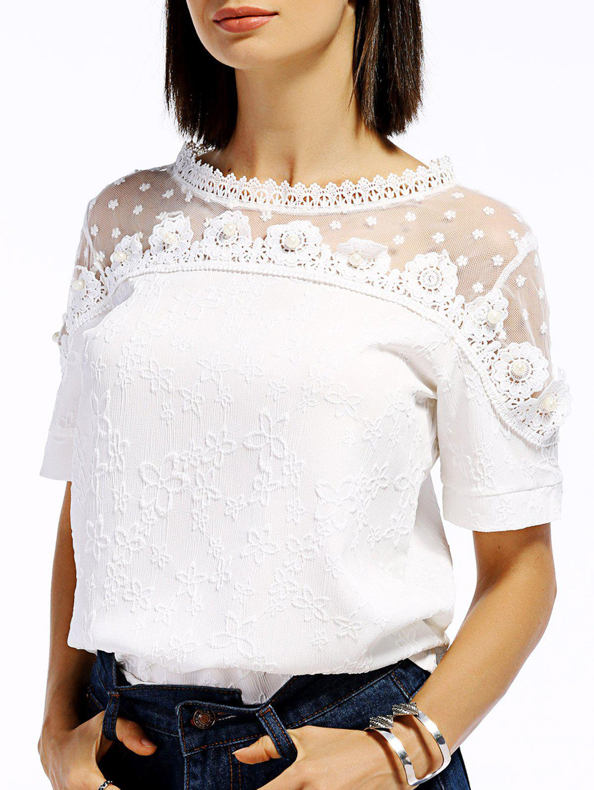 Sweet Women's Short Sleeve Lace Spliced Flower Pattern Blouse