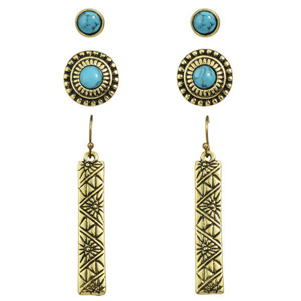3 Pairs Vintage Faux Turquoise Round Embossed Earrings - GOLDEN