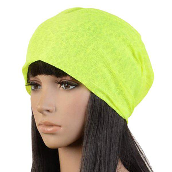 Stylish Bright Color Lightweight Double-Deck Women's Summer Beanie - FLUORESCENT YELLOW
