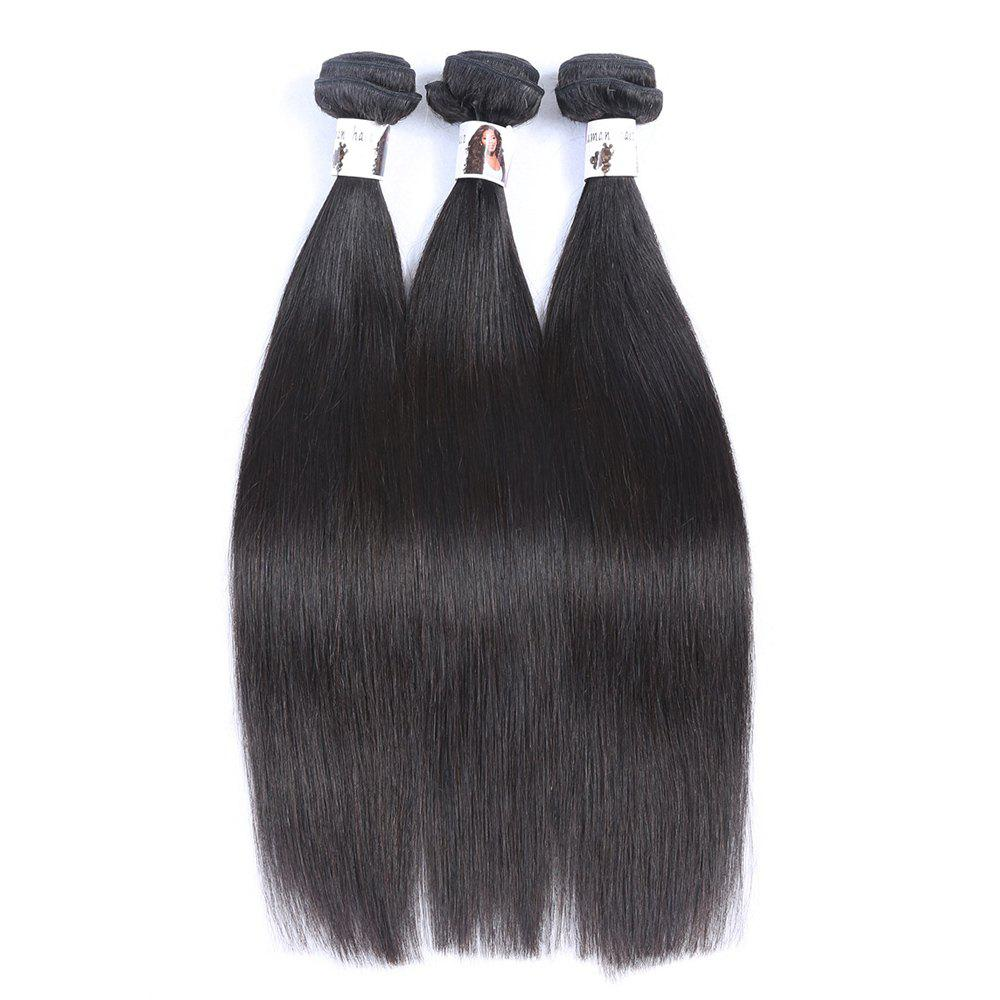 Fashion 3 Pcs/Lot Straight 7A Virgin Hair Natural Black Women's Indian Human Hair Weave Bundle - BLACK 22INCH*24INCH*24INCH