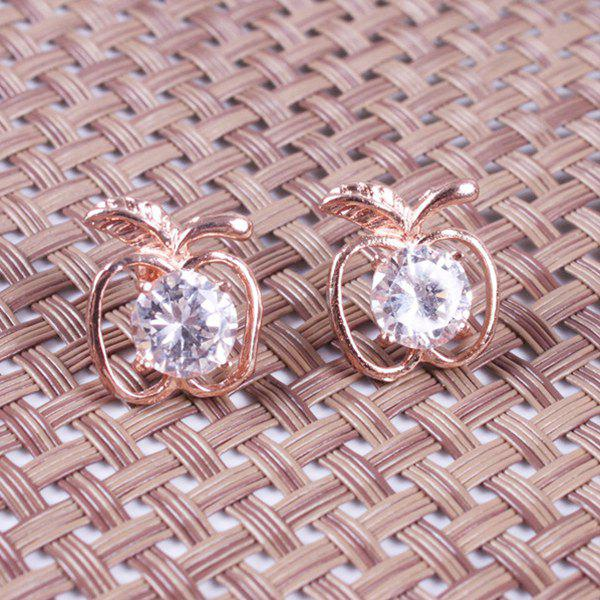 Hollow Out Apple Fake Cyrstal Stud Earrings - ROSE GOLD