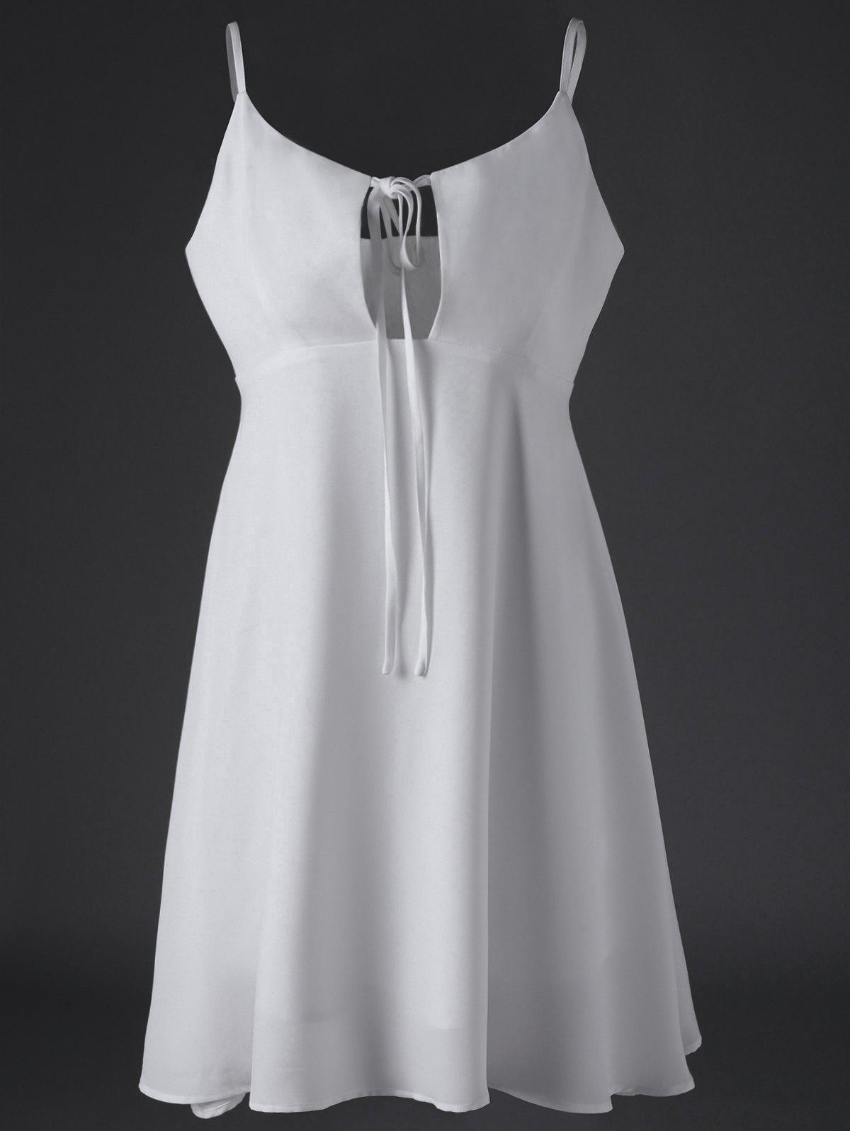 Chic Women's Spaghetti Strap White Summer Dress - WHITE L