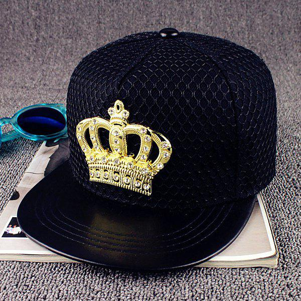Street Fashion Hipsters Rhinestone Crown and Mesh Embellished Baseball Cap - BLACK