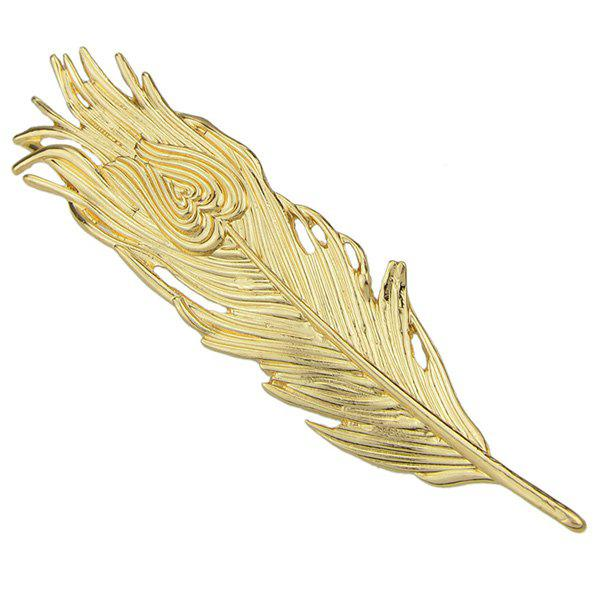 Vintage Solid Color Feather Hairpin For Women - GOLDEN